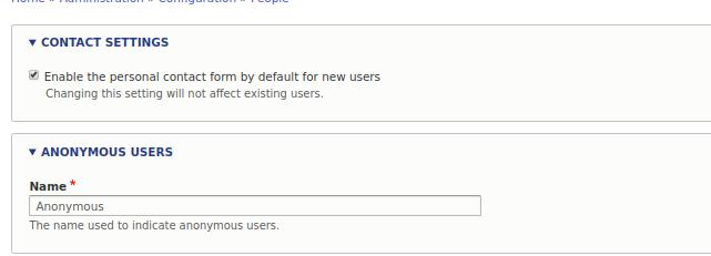 Drupal users settings